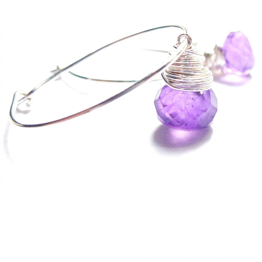 Amethyst Hoop Earrings Sterling Silver Wire Wrapped Briolettes